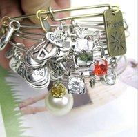Wholesale Fashion Alex Ani DIY Bracelets Europe retro zircon crystal pearl Charm pendant Women adjustable Bangle