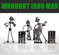 band art work - Desk Ornament WROUGHT IRON MAN Hand Made Arts And Crafts Home Office Desk Decoration Vivid Iron Arts Music Band Ornament