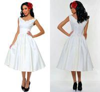 best v neck t shirts - 2014 Best Selling V Neck Sleeveless Prom Dresses Tea Length Satin Fashion Lady Formal Dresses Bridesmaid Dresses Custom Made