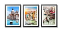 Wholesale Euro Venice Natural Art Licy Jenny Art waterproof paints black wood frame Abstract Art Giclee Prints Modern Art Framed Wall Art for Home D