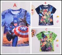 big ben shirt - 2015 kids boys big size Cartoon T shirt Kids boy Superhero Captain America Ben printing short sleeve summer shirts J071401 DHL FREESHIP
