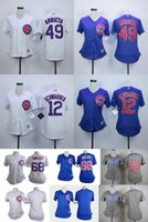 Wholesale 2016 Newest Chicago Cubs soler arrieta schwarber blank white stripe Grey blue Women Cool Base Jersey Top quality