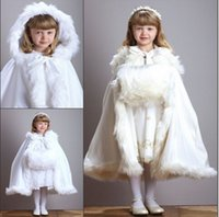 belted cape coat - 2016 Hooded Bridal Girls Cape White Ivory Wedding Cloaks Faux Fur Tea Length Children Outerwear Coats Winter Scarf Poncho