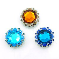 Wholesale Fashion Color Plastics Crystal Petal Alloy Clasps DIY Interchangeable Noosa mm Snap Buttons Jewelry Accessories NKC0019