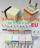 Wholesale 100X Dual ports USB Wall Charger Home travel adapter V A EU Metal Adapter ports plug for iphone Samsung