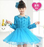 Wholesale Hot sale Autumn New Fashion Korean Children Clothing Beautiful Girls Lace Dress Princess Mini Dresses Kid Baby Clothes