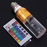 Wholesale AC V W E27 RGB LED Bulb Lamp Color changing Crystal LED spot light with Remote Control