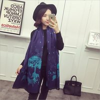 Wholesale Fashion Wool Scarfs For Women Pashmina Shawl Oversized Warm Wool Cashmere Satin Scarf Infinity Scarf Christmas Tree Deer