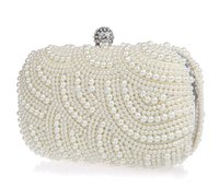 Wholesale Pearls Ladies Handbags Fashion Wedding Bridal Hand Bags Prom Party Evening Clutches Purse Bags Black Ivory White Dress Accessories