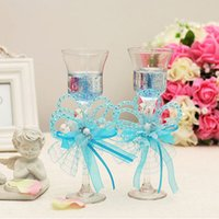 Wholesale Romantic cm Candle Favors Goblet Four Colors With Beading Ribbon Pearls Bow Wedding Supplies Shiny Flowers Candles Favors