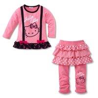 baby black dress pants - Baby girls Hello Kitty Bows Children s clothing Set Dress T shirt Tutu Skirt Leggings Pants cm