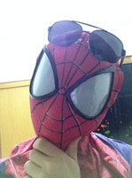 amazing spiderman costume - 2015 Moda The Amazing SpiderMan Fabric Adult Costume Mask lenses lens one size adjust