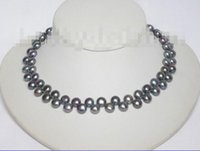 beaded fasteners - gt gt gt Genuine mm quot baroque fastener Black pearl necklace j6590