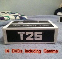 Cheap 14 DVD Focus T25 Shaun T's Crazy Potent Slimming Training Set Alpha Beta Core Speed T25 Fitness Teaching DVDs with Gamma and band