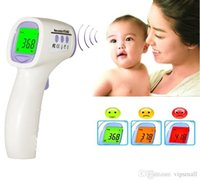 Wholesale 2016 Free DHL new Digital Electronic Baby Infrared Thermometer Multi Function Forehead Color Alarm Three Color Backlight HTD8808