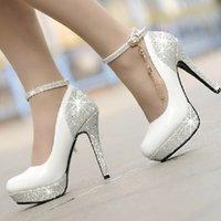 shoe chains - 2015 Sapatos Femininos Salto Alto New Fashion Golden Chain Bridal white Wedding Shoes For Women Platform cm Ultra High Heels