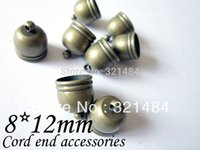 Cheap 8x12mm Hole Size 7mm Connector Cord End Tube, end caps for leather cord Antique Bronze Brass Tone Lot 500pcs