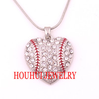 baseball heart necklace - Latest style a rhodium plated zinc studded with sparkling crystals Baseball Heart Pendant chain necklace