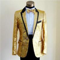 Wholesale Fall paillette male master Sequins Dresses Stage Costumes Men Suit MC Host Singer Suits Blazer show jacket outerwear