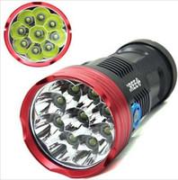 La mejor linterna llevada brillante estupenda de la unidad del precio * 1 SKYRAY 9x CREE XML 9T6 lámpara ligera fuerte del trabajo de la caza de la antorcha de la linterna de 15000Lumen LED de la linterna