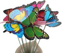 Wholesale lovely cm Vivid Butterfly with stem arrangement Home flowers decoration wedding party gift