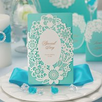Wholesale 50pcs High Quality Blue Wedding Invitation Card Embossment And Gold Bronzing With Envelope Inner Paper And Seals