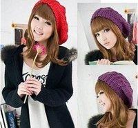 Wholesale Big Bud Cannabis Spherical Knitted Wool Beanie Hat Girl Winter Warm Beret Caps M1780