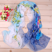 Wholesale 10 colors Autumn spring New Women Peony Print sillk chiffon scarves cm shawls for women