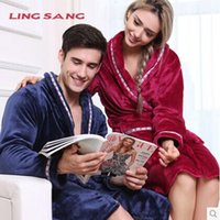Wholesale Winter thick coral cashmere flannel nightgown men and women couple home clothes men and ladies winter pajamas bathrobe