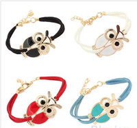 Wholesale New Women s charm leather bracelets Retro Animal Owl Decoration Faux Leather Charm bangle Bracelet for Christmas New Year Gift NSL