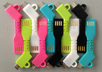 Wholesale Mini Protable Keychain Charger Micro USB Cable Keyring Charging Adapter for Samsung Galaxy S3 S4 S5 S6 Blackberry HTC Smart Phone Power Bank
