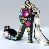 Wholesale Fashion Colorful Crystal High Heels Shoe KeyChain Phone Straps Charm Color