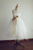 Wholesale 2015 NEW Lace Tulle Keyhole Flower Girl Dress Communion Baptism Junior Bridesmaid Dress Birthday Dress Graduation Gown Party Dress