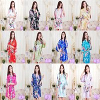 Wholesale 30pcs Pajama Womens Solid royan silk Robes Ladies Satin Pajama Lingerie Sleepwear Kimono Bath Gown pjs Nightgown free DHL