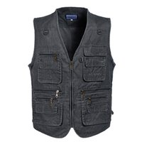 Wholesale Fall M287 Mens Casual Vest Fly Fishing Vest Photography Vest Cotton Multi Pocket Tooling Outdoor Vest Plus Size xl xl xl