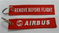 Wholesale Easy Travel Remove Before Flight Airbus Fabric Embroidery Pilot Key Chains x cm