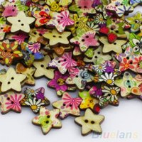 Wholesale Vintage Pentagram Shape Wood Sewing Mending Wooden Buttons Q7E