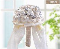 Wholesale Bridal Bouquets Artificial Flowers Ivory White Wedding Flowers Bouquets Artificial Rose Flower Bridal Crystal Wedding Bouquets