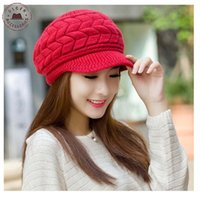 beanie cap visor womens - Elegant womens winter warm hat red rabbit fur beanies for ladies Knitted Visors Beret hats HUB005