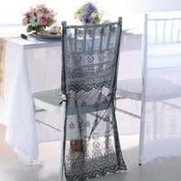 Wholesale DHL EMS Free Lace Embroidery Organza Chiavari Chair Covers Wedding Party Home Banquet Decoration Products