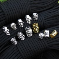 bead keychain - pec Keychain Ring Buckle DIY String outdoor paracord accessories Pendant Metal Skull beads Pirate Camping