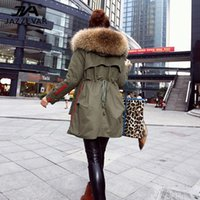 Wholesale winter jacket women s coats thick new winter coat woman parkas army green Large raccoon fur collar hooded coat top