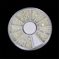 Wholesale Stylish Nail Art White Pearl Beads sizes mm with Wheel Charming Rhinestones Decoration for Nail beauty Tools