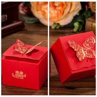 Wholesale Korea Diy Box - Wholesale Korea Fashion Laser Cut Candy Boxes Butterfly Red Favor Holders Gift Box Wedding Suppliers DIY Chocolate Package 2016 Cheap Online