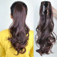 Wholesale piece ladies amazing synthetic ponytail clip in hair extension natural black dark brown light brown clip in hair extension