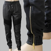 Wholesale New Mens Leather Pants Loose Sports Style Faux Leather PU White Black Leather Biker Joggers Pants With Gold Zippers P020