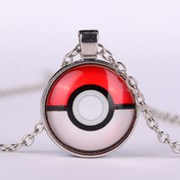 anime necklace - Poke mon ball Pocket Monsters Glass Cabochon necklace anime time gemstone necklaces fashion jewelry for women men kids toy
