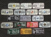Wholesale Vintage Retro old license plate Number bars cafes restaurants decoration metal painting Art wall decor cm