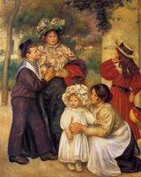 artist renoir - art Painting canvas portrait The Artists Family by Pierre Auguste Renoir High Quality Handmade