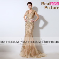 apple pastel - LX053 Real Image Champagne Tulle Long Mermaid Evening Dresses Custom Made V Neck Heavy Beaded Crystal See Tough Back Prom Party Gown